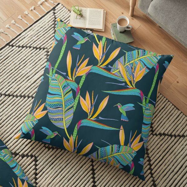 Bohemian Birds of Paradise Floor Pillow