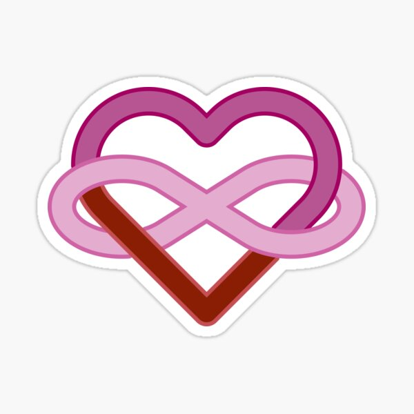 Lesbian Polyamory Infinity Heart Sticker