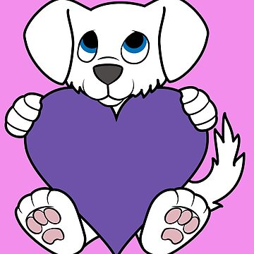 Valentine's Day White Dog with Purple Heart by Grifynne