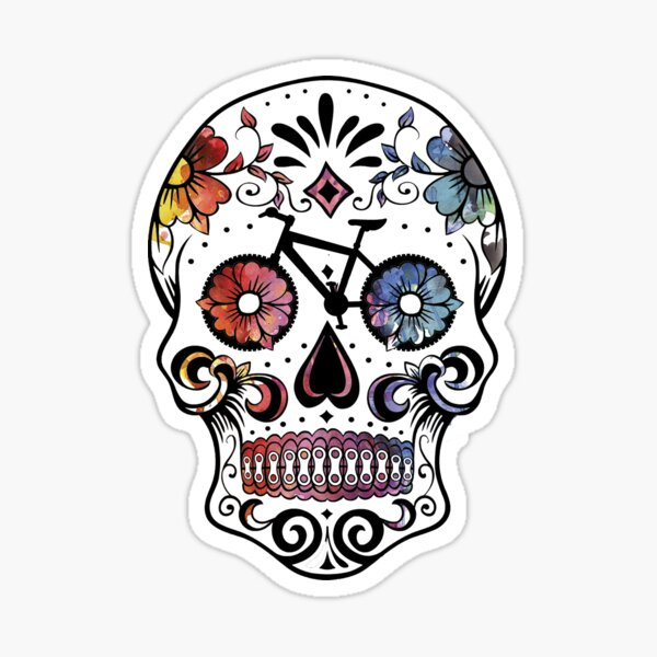 Sugar skull bikes watercolor Sticker
