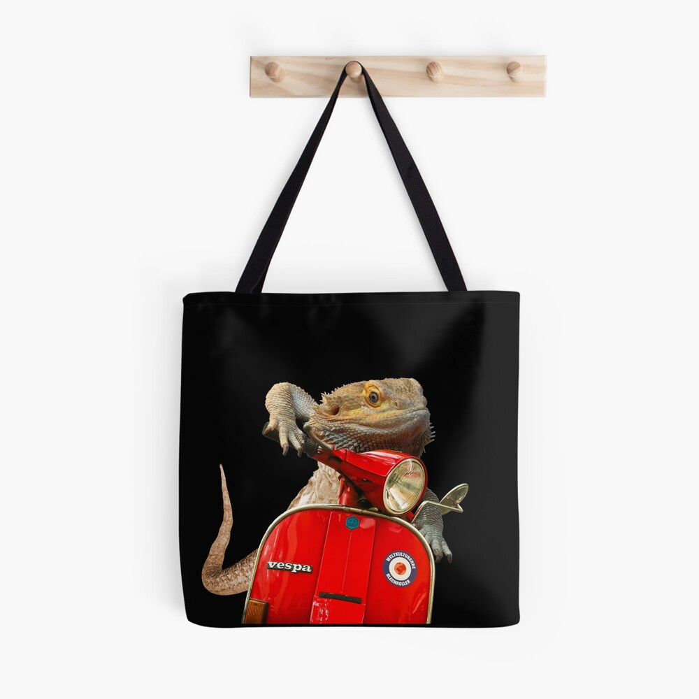 Born To Be Wild - Bearded Dragon On A Vespa Tote Bag