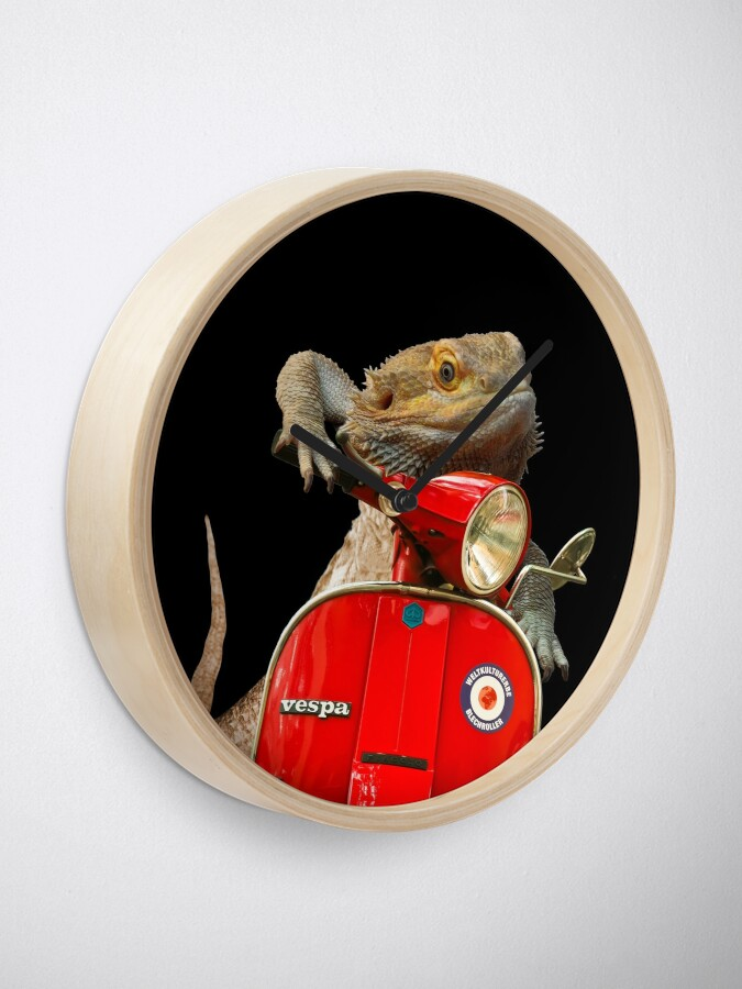 Alternate view of Born To Be Wild - Bearded Dragon On A Vespa Clock