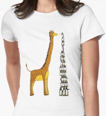Who is Taller Unicorn Giraffe or Penguin? Women's Fitted T-Shirt