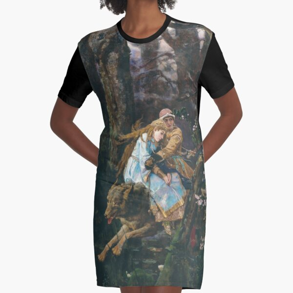 Ivan Tsarevich Riding the Grey Wolf Viktor Vasnetsov Graphic T-Shirt Dress