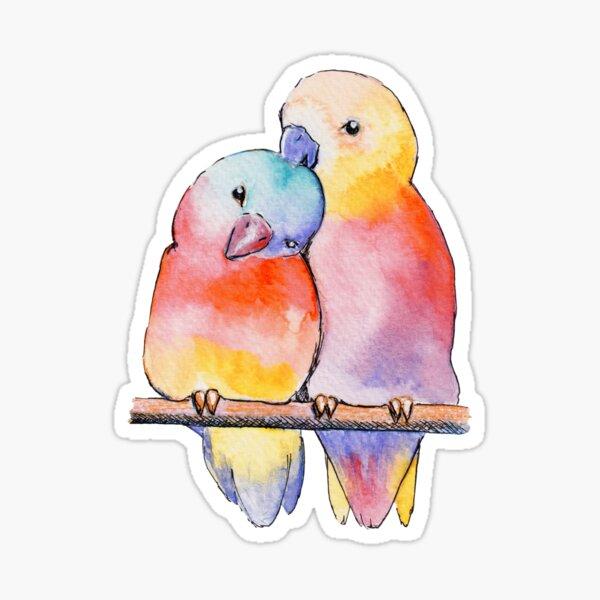 Watercolor - Colorfull lovebirds  Sticker