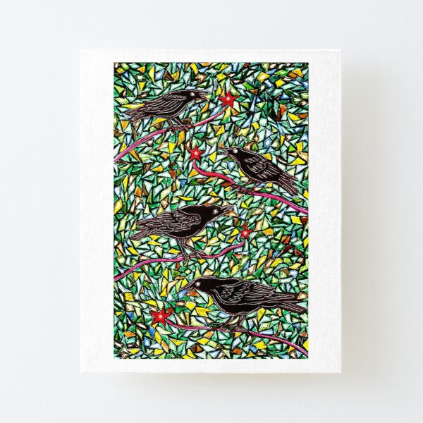 Murder of Crows sitting on red branches with mosaic background art Canvas Mounted Print