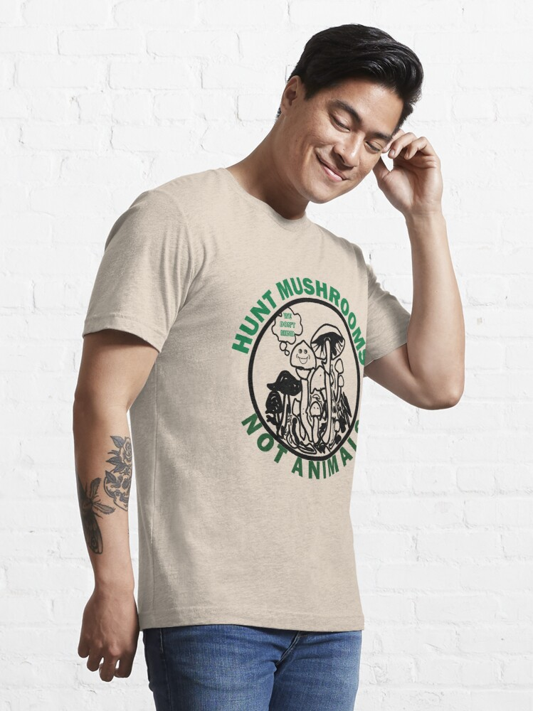Alternate view of Hunt Mushrooms Not Animals, t-shirt wearing by Pete Davidson  Essential T-Shirt