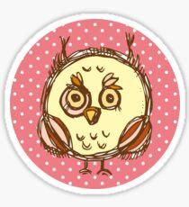 Funny owl pink polka dot Sticker