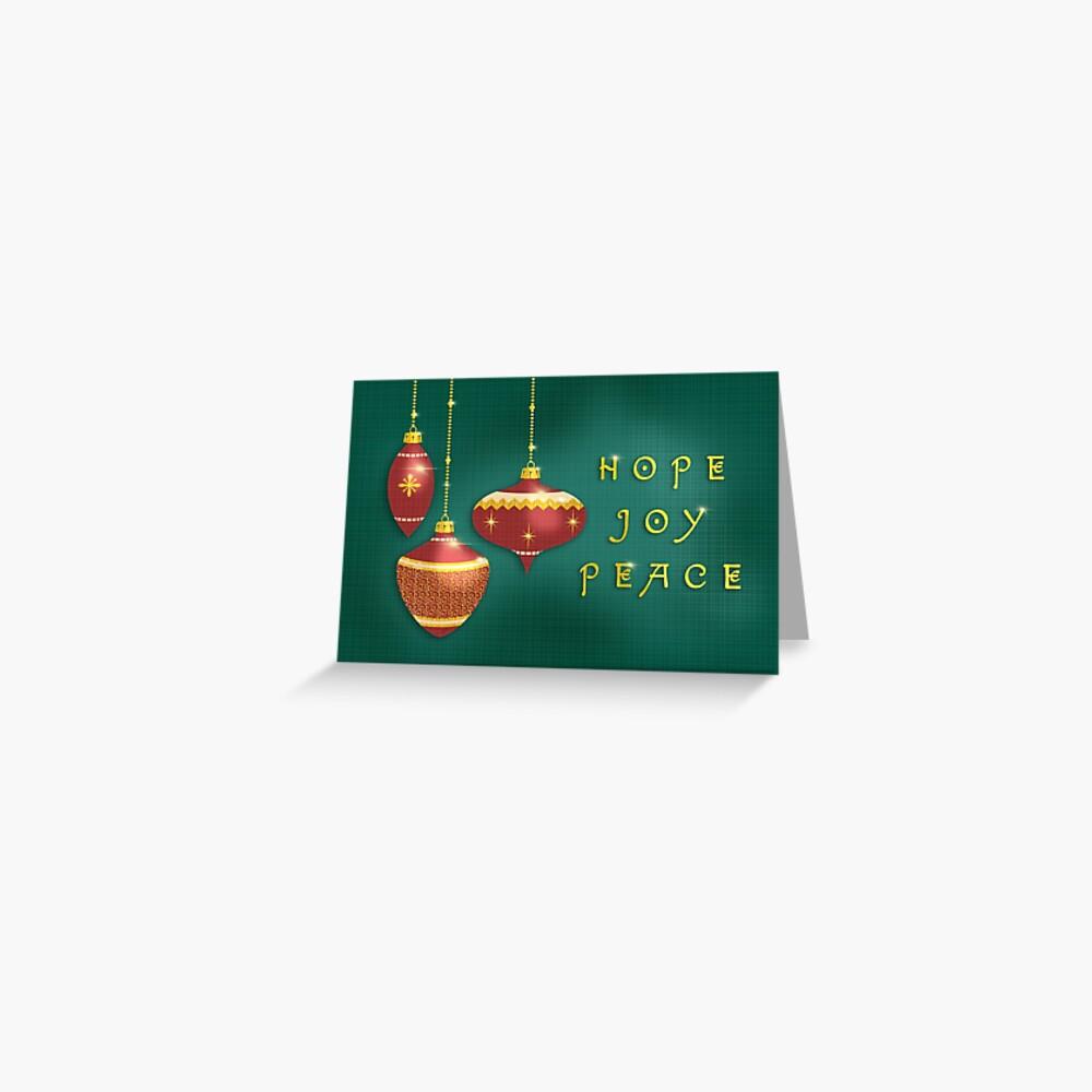 Hope Peace Joy Vintage Christmas Ornaments Greeting Card