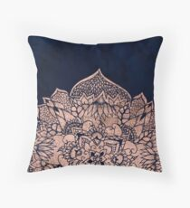 Modern boho rose gold floral mandala watercolor Throw Pillow