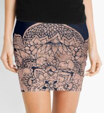 Modern boho rose gold floral mandala watercolor Mini Skirt