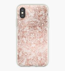 Modern faux rose gold floral mandala hand drawn iPhone Case