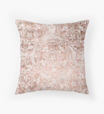 Modern faux rose gold floral mandala hand drawn Throw Pillow