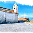 Vatolla: foreshortening with church by Giuseppe Cocco