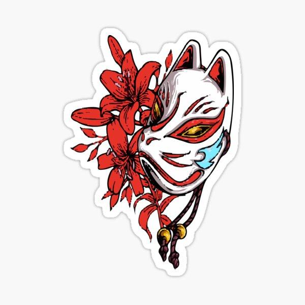 Masque de renard japonais Sticker
