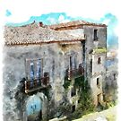 Vatolla: foreshortening with building by Giuseppe Cocco
