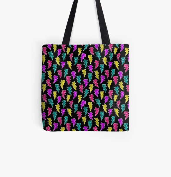 Neon Lightning Bolts  All Over Print Tote Bag