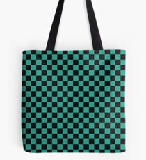 Minimalist check pattern. checkered square, Green and black. Checkered pattern.  Tote Bag