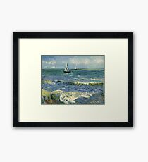 Vincent Van Gogh - Post- Impressionism Oil Painting , Seascape near Les Saintes-Maries-de-la-Mer, June 1888 - 1888 Framed Print