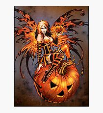 Fairy of Halloween Pumpkin Photographic Print