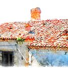 Vatolla: foreshortening with roof and tiles by Giuseppe Cocco