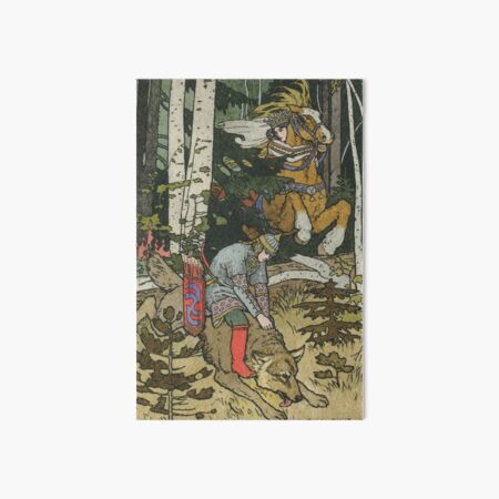 Ivan Tsarevich with Princess Elena and the Grey Wolf Ivan Bilibin Art Board Print