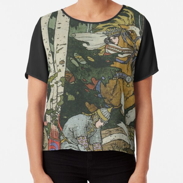 Ivan Tsarevich with Princess Elena and the Grey Wolf Ivan Bilibin Chiffon Top