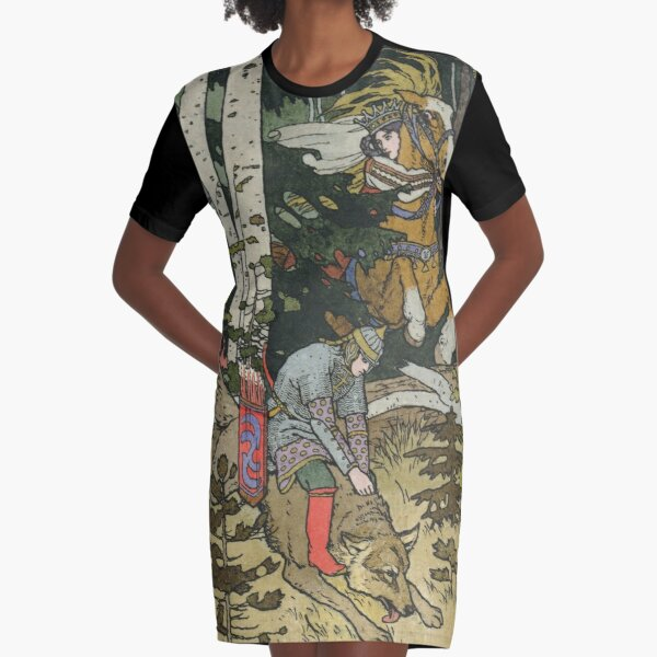 Ivan Tsarevich with Princess Elena and the Grey Wolf Ivan Bilibin Graphic T-Shirt Dress