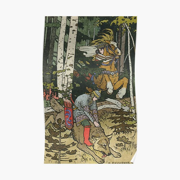 Ivan Tsarevich with Princess Elena and the Grey Wolf Ivan Bilibin Poster