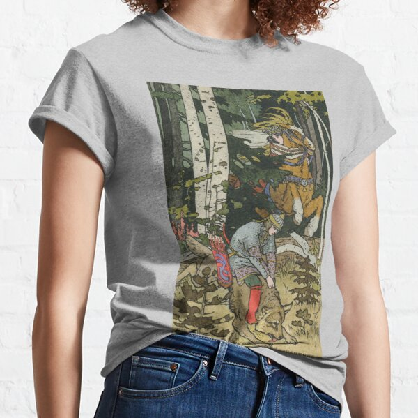 Ivan Tsarevich with Princess Elena and the Grey Wolf Ivan Bilibin Classic T-Shirt