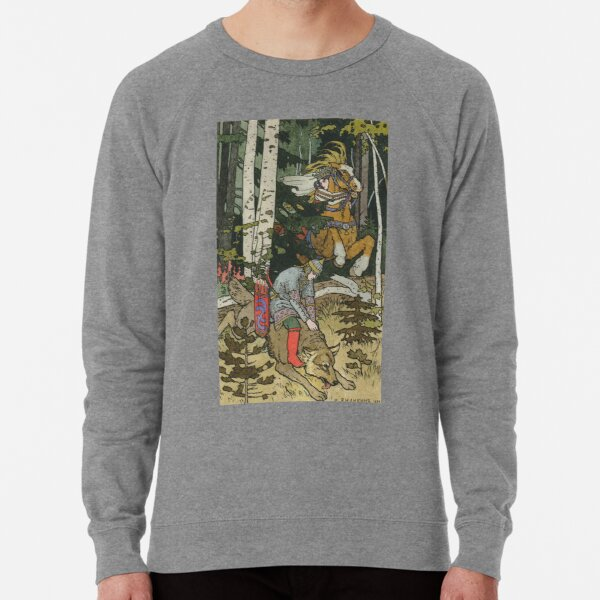 Ivan Tsarevich with Princess Elena and the Grey Wolf Ivan Bilibin Lightweight Sweatshirt