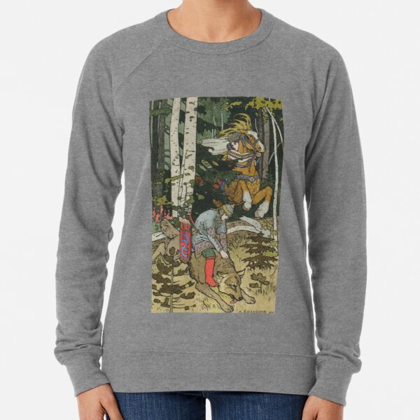 Ivan Tsarevich with Princess Elena and the Grey Wolf Ivan Bilibin Lightweight Sweatshirt