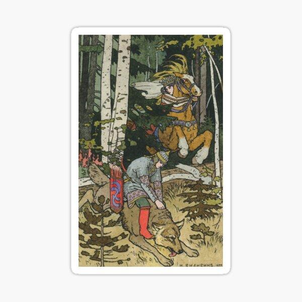 Ivan Tsarevich with Princess Elena and the Grey Wolf Ivan Bilibin Sticker