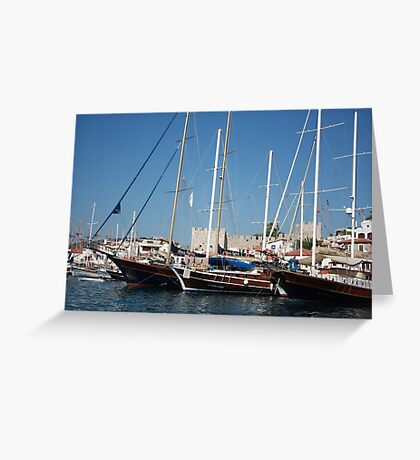 Traditional Turkish Gulets In Marmaris Harbour Greeting Card