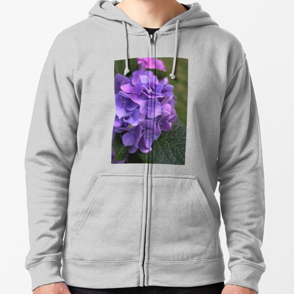 Hydrangea In Mauves And Pinks Zipped Hoodie