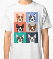 Boston Terriers tile pattern repeat cute dogs puppy boston terrier pet friendly gifts for dog person  Classic T-Shirt