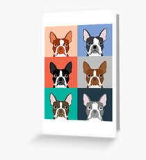 Boston Terriers tile pattern repeat cute dogs puppy boston terrier pet friendly gifts for dog person  Greeting Card