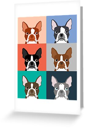 Boston Terriers tile pattern repeat cute dogs puppy boston terrier pet friendly gifts for dog person  by PetFriendly