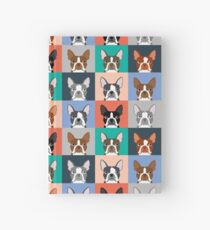 Boston Terriers tile pattern repeat cute dogs puppy boston terrier pet friendly gifts for dog person  Hardcover Journal