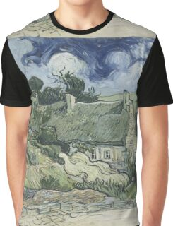Vincent Van Gogh  Post- Impressionism Oil Painting , Thatched Cottages at Cordeville, 1890 Graphic T-Shirt