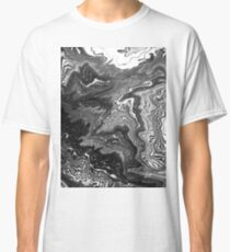 Izumi - spilled ink marble landscape abstract painting handmade art print texture black and white Classic T-Shirt