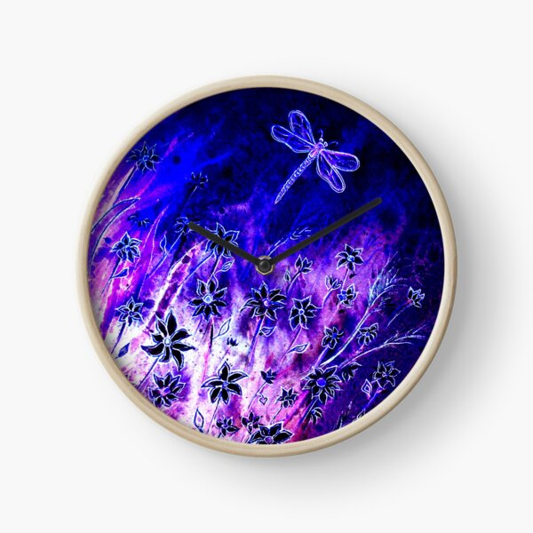 Dragonfly and Daisies Clock