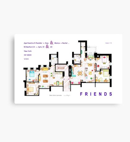 FRIENDS Apartment's Floorplans - V.2 Canvas Print