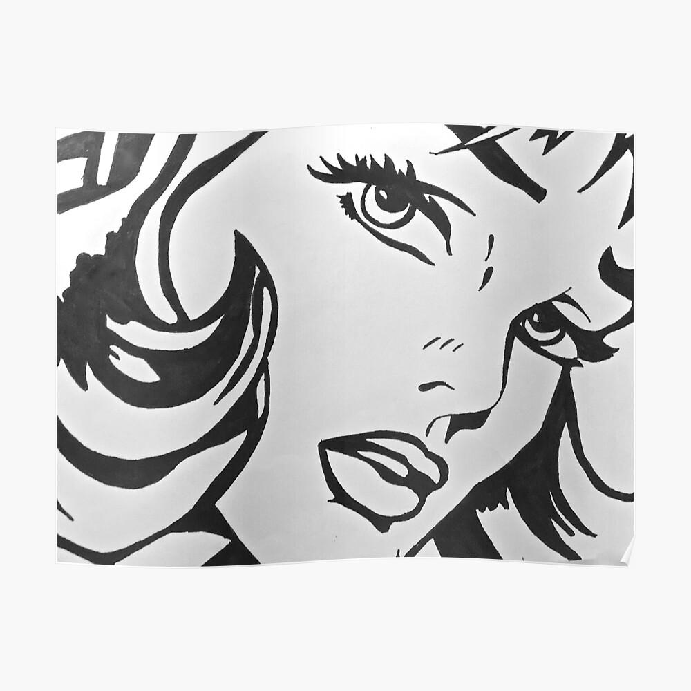 Schwarz-Weiß-Mädchen Poster