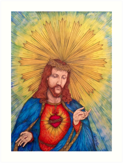 Sacred Heart Of Jesus Christ Drawing by KentChua