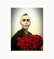 Halloween Skull Tux And Roses Art Print