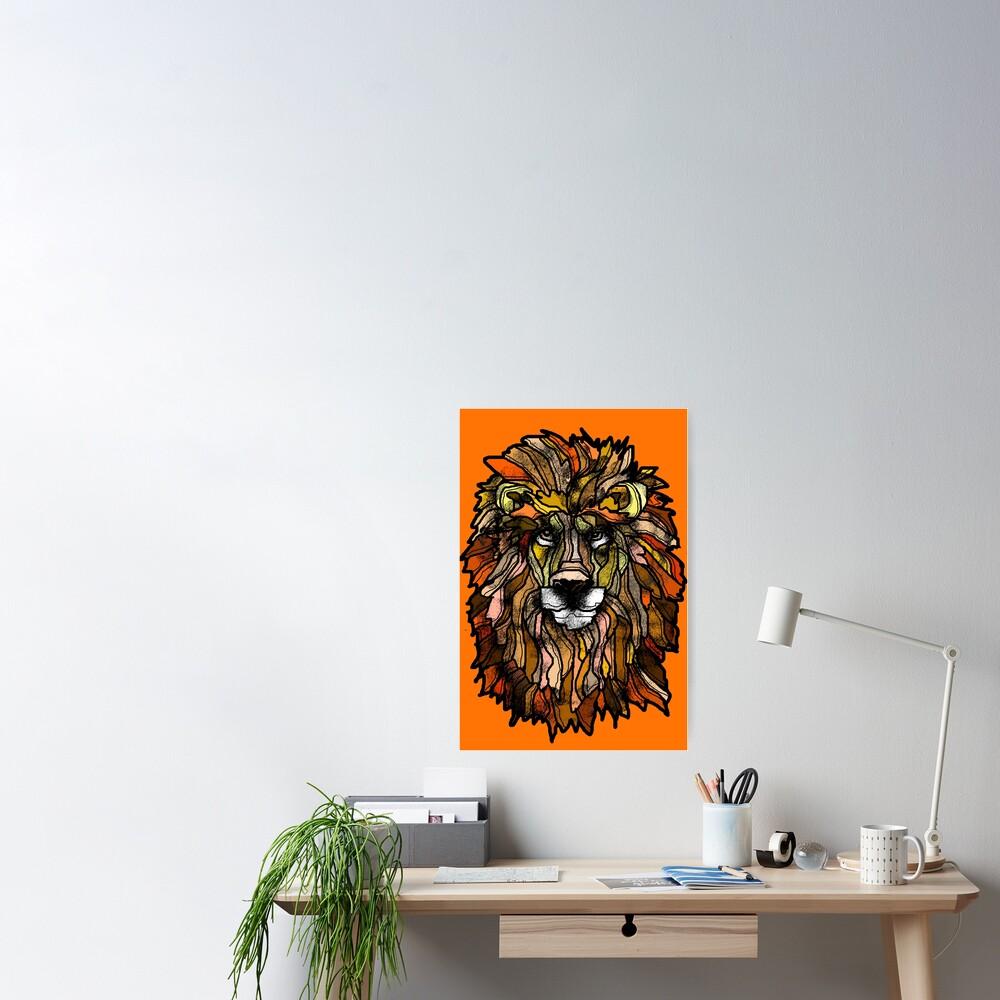 Orange lion Poster