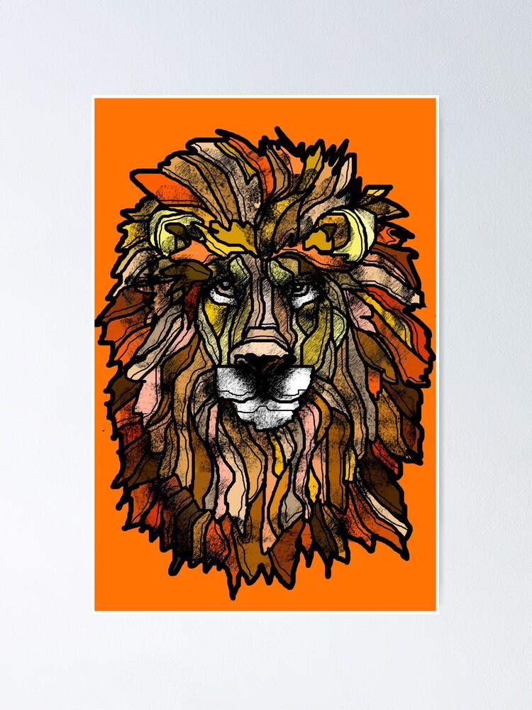 Alternate view of Orange lion Poster