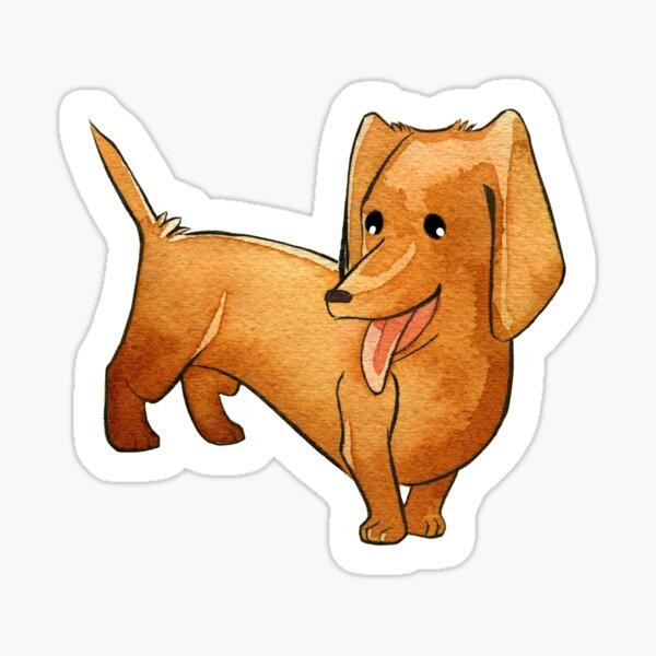 Little Happy Watercolor Dachshund Wiener Dog  Sticker