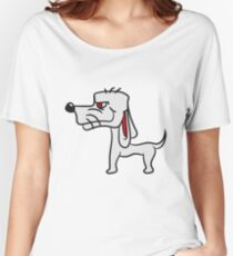 cool little funny dog with wig crazy sweet cute Women's Relaxed Fit T-Shirt